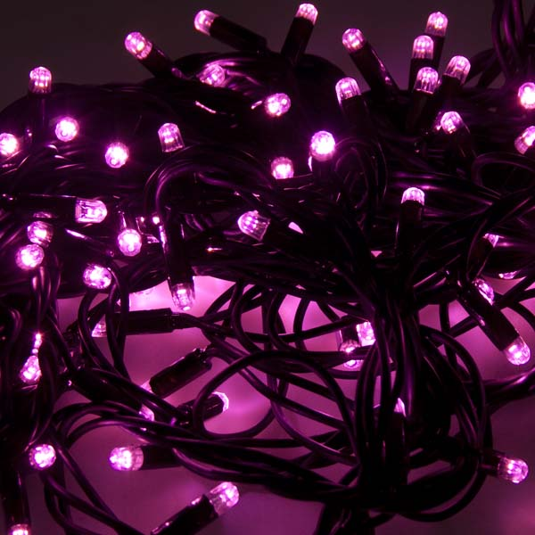 Festilight 10m Length Of 100 Indoor & Outdoor Pink Connectable Animatable LED String Lights On Black Rubber Cable