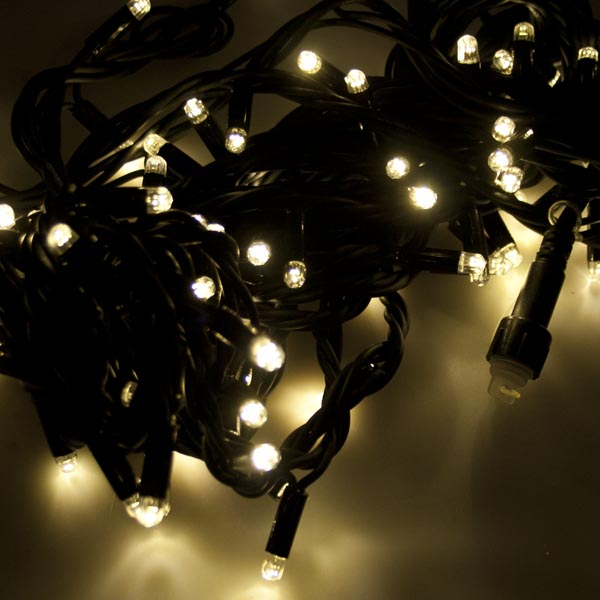 Festilight 10m Length Of 100 Indoor & Outdoor Warm White Connectable Animatable LED String Lights On Black Rubber Cable
