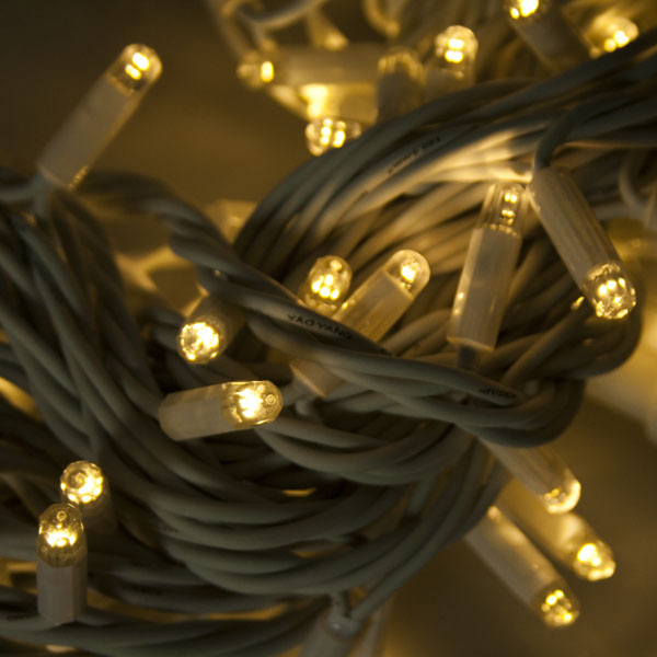 Festilight 20m Length Of 200 Indoor & Outdoor Warm White Connectable Animatable LED String Lights  On White Rubber Cable