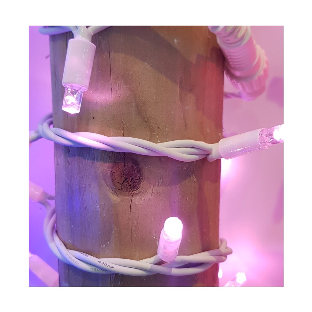 Idolight 230v LED STRING Light - Pink - 4m White Cable - Static