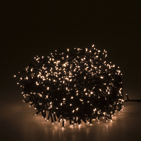 35m Of 1500 Warm White Twinkling LED Outdoor Compact Fairy Lights Green Cable (110-29480-WW-GR)