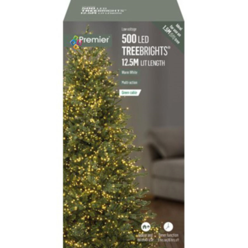 Premier 500 Warm White Treebrights Multi Action LED Fairy Lights On Green Cable With Timer