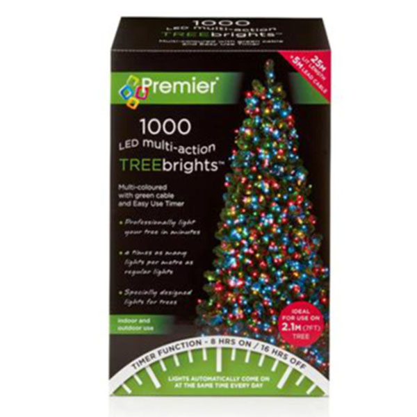Premier 1000 Multi Coloured Treebrights Multi Action LED Fairy Lights On Green Cable With Timer