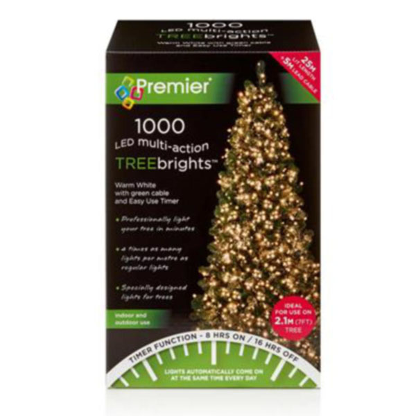 Premier 1000 Warm White Treebrights Multi Action LED Fairy Lights On Green Cable With Timer