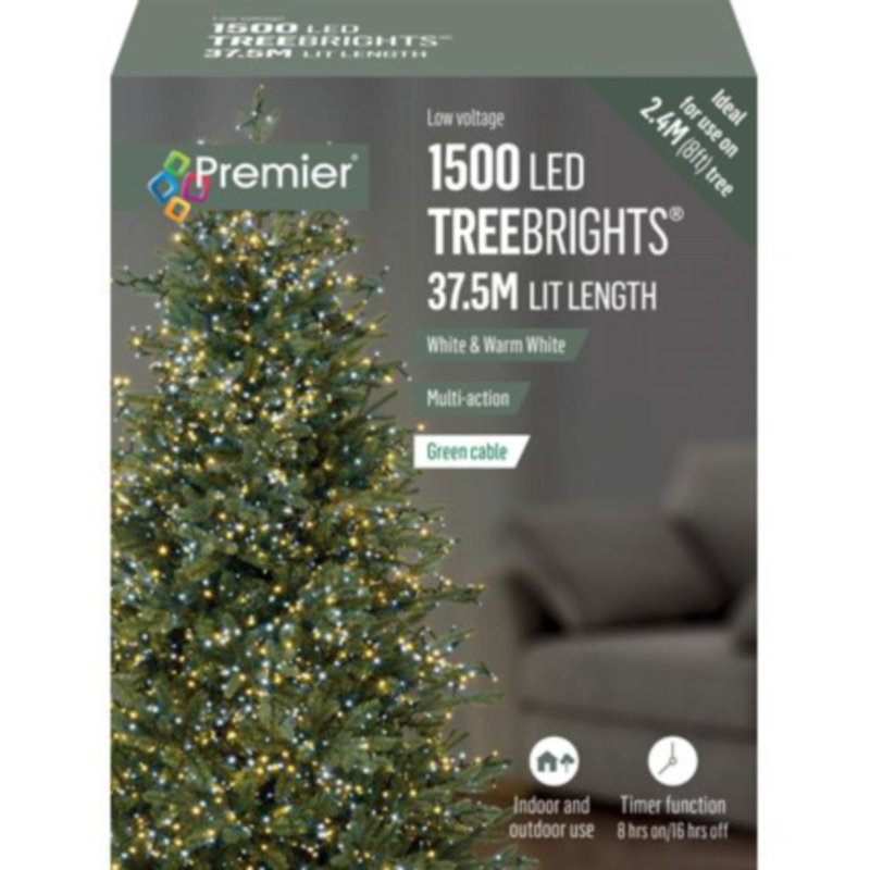 Premier 1500 White & Warm White Mix Treebrights Multi Action LED Fairy Lights On Green Cable With Timer