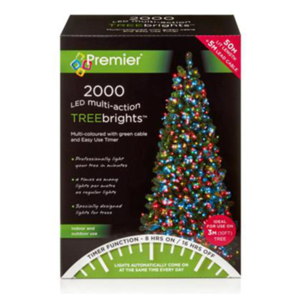 Premier 2000 Multi Coloured Treebrights Multi Action LED Fairy Lights On Green Cable With Timer