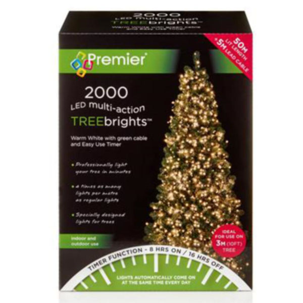 Premier 2000 Warm White Treebrights Multi Action LED Fairy Lights On Green Cable With Timer