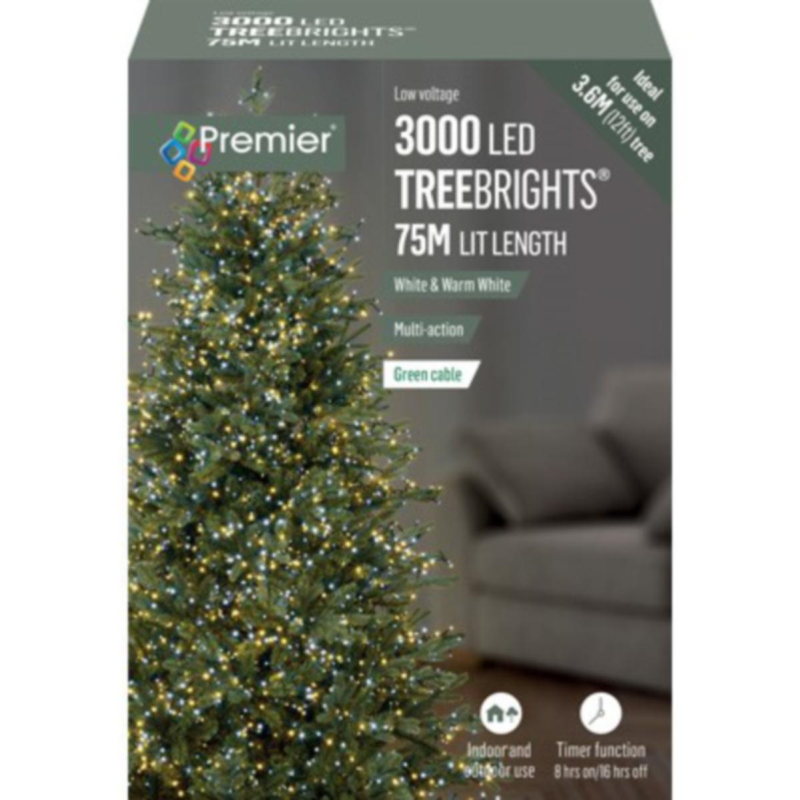 Premier 3000 White & Warm White Mix Treebrights Multi Action LED Fairy Lights On Green Cable With Timer