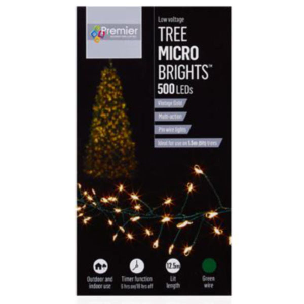 Premier 10m length of 500 Vintage Gold Indoor & Outdoor Multi Action Micro LED Treebright Fairy Lights With Timer On Green Wire