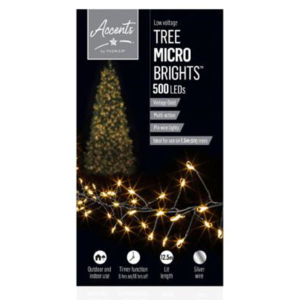 Premier 10m length of 500 Vintage Gold Indoor & Outdoor Multi Action Micro LED Treebright Fairy Lights With Timer On Silver Wire