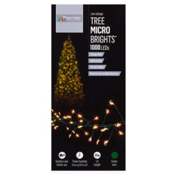 Premier 20m length of 1000 Vintage Gold Indoor & Outdoor Multi Action Micro LED Treebright Fairy Lights With Timer On Green Wire