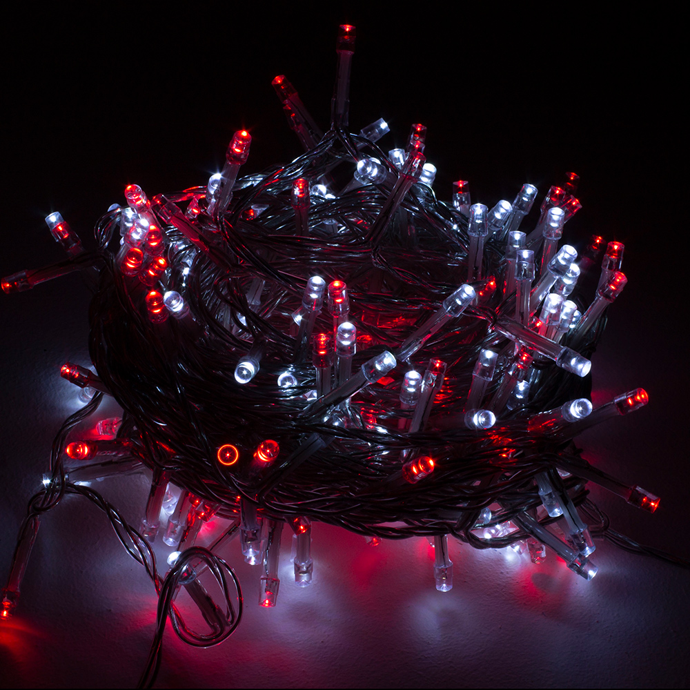 Premier 16m Length Of 200 Red & White Multi Action Outdoor Premier Supabrights LED Fairy Lights Clear Cable
