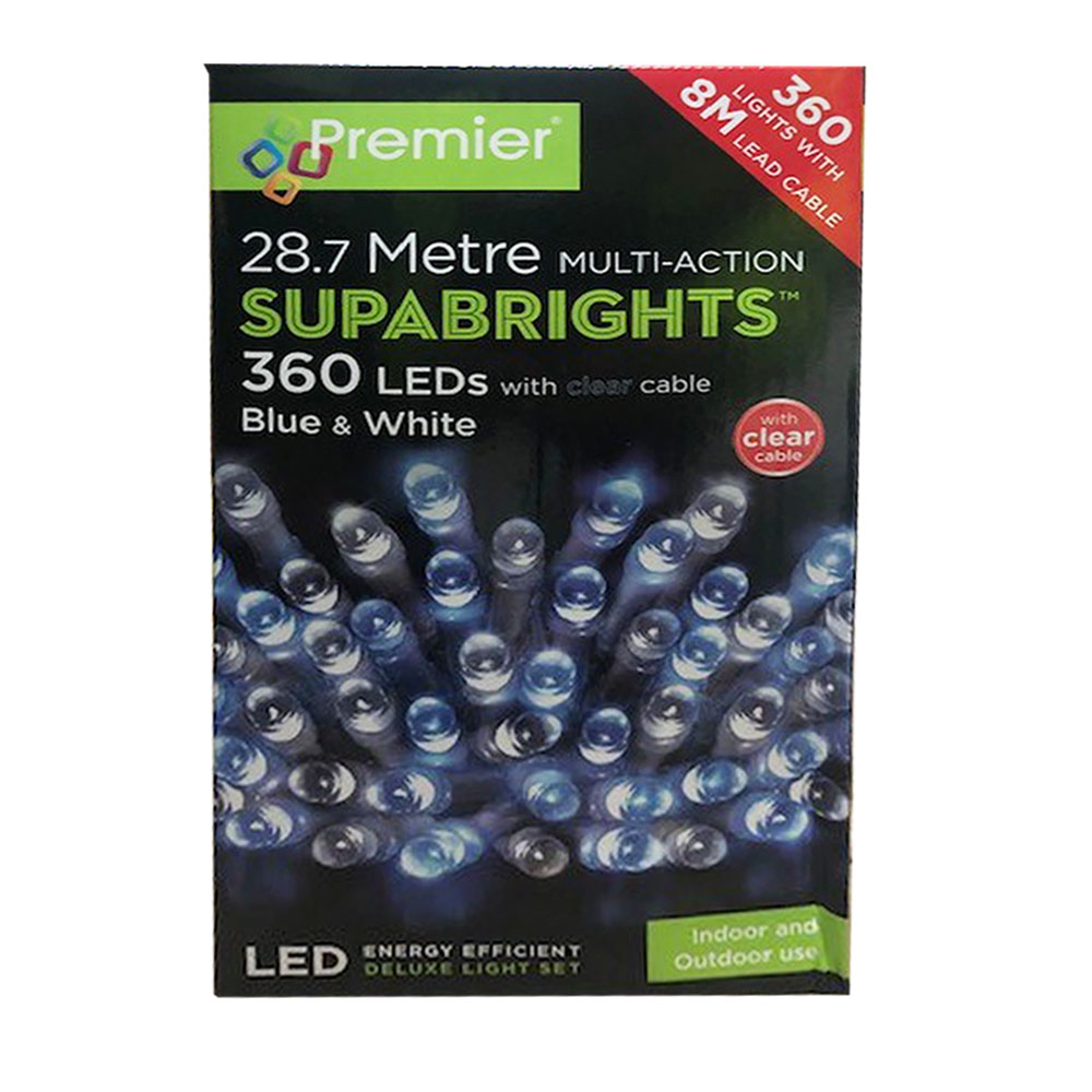 Premier 28.7m Length Of 360 Blue & White Multi Action Outdoor Premier Supabrights LED Fairy Lights Clear Cable