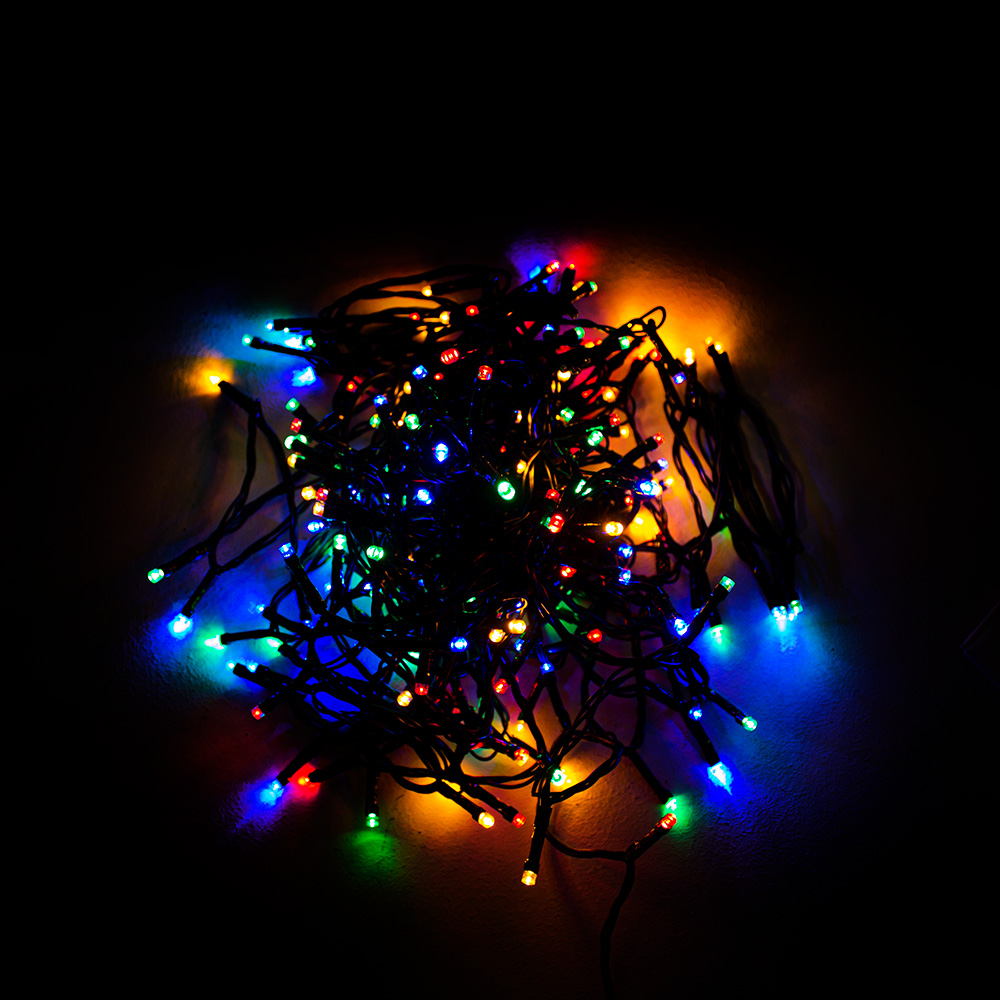 Premier 9.5m Length Of 120 Multicoloured Supabright Multi Action LED Fairy Lights With Timer On Green Cable