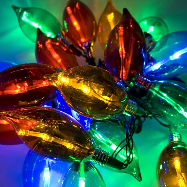 7.8m Length Of 40 Outdoor Static Multicoloured Large Flame LED Fairy Lights Green Cable