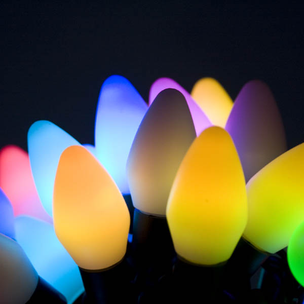 2.4m Length Of 25 Colour Changing Flashing LED Cone Lights On A Black Cable