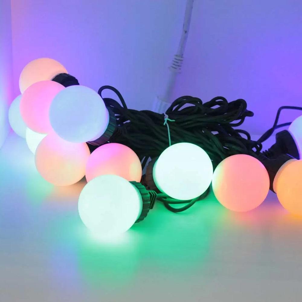 Idolight 230v LED FESTOON STRING Light - Multi Coloured LED - 12m Black Cable - Static