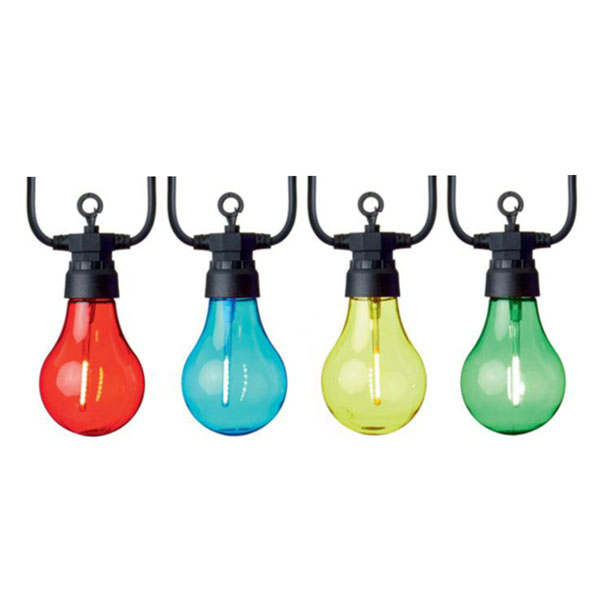 Indoor & Outdoor 10 Large Bulbed Connectable Multicoloured Party Lights On Black Cable