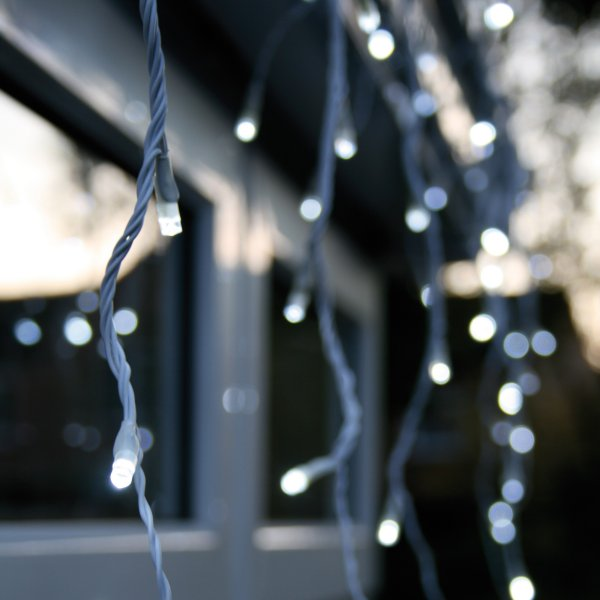 Noma 4.7m length of 240 Soft White Indoor And Outdoor Multi Function Minature LED Snowing Icicles. White Cable