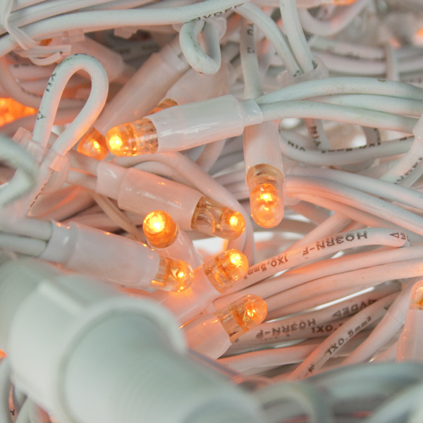 Light Creations 3m wide X 0.7m drop  Indoor and Outdoor Connectable 150 Orange LED Icicle Lights White Cable