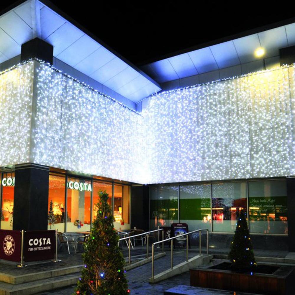 Idolight 24v LED CURTAIN Light - White LED - 2m X 3m Drop White Cable - Flashing