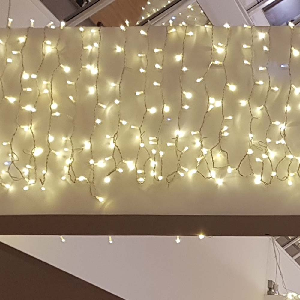 Light Creations 2m Width X 3m Drop 490 Indoor And Outdoor Connectable Warm White LED Curtain Light White Cable