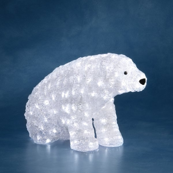 konstsmide decorative outdoor polar bear with 200 white static led fairy lights white cable
