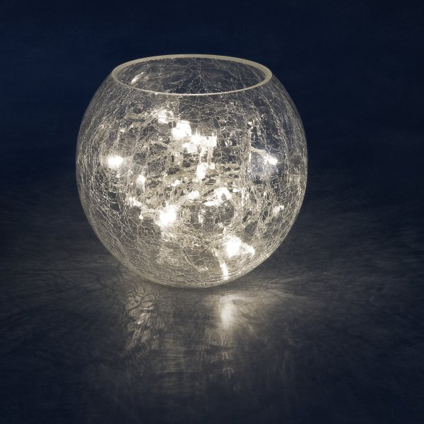 Konstsmide Indoor 24cm Crackle Glass Vase With 32 Warm White Static LED Fairy Lights