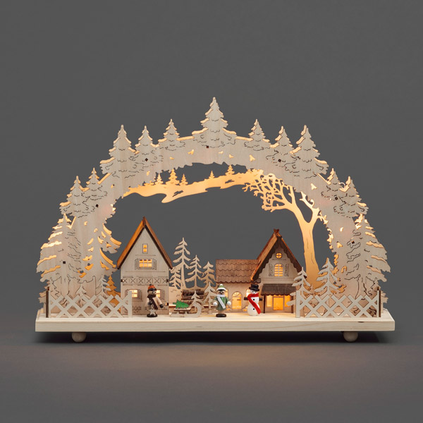 Konstsmide Wooden 10 Warm White LED Illuminated Village Silhouette Scene.