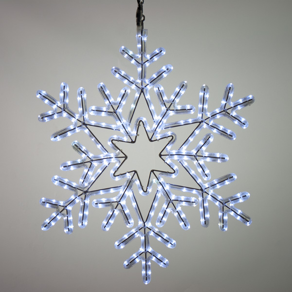 Festilight 69cm x 80cm Flashing White LED Indoor And Outdoor Connectable Snowflake Silhouette