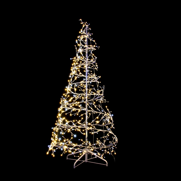 Festilight 2.1m Indoor & Outdoor 3D Silver Spiral Tree with  With 704 Warm White Flashing LED's