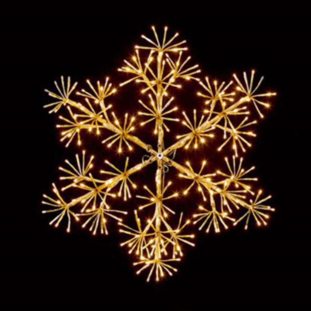 Gold With Warm White LEDs Starburst Snowflake Silhouette - 90cm