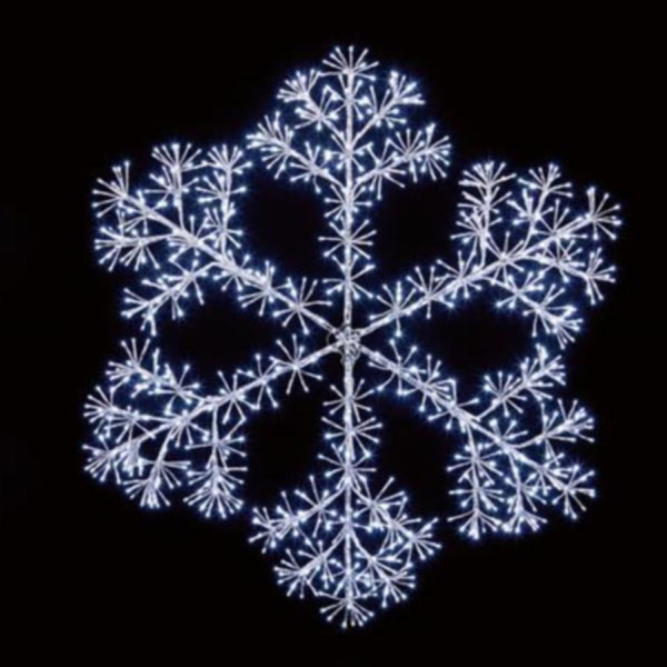Silver With White LED Starburst Snowflake Silhouette - 150cm
