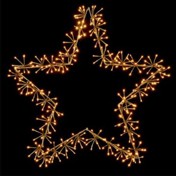 Gold With Warm White LED Star Burst Silhouette - 120cm