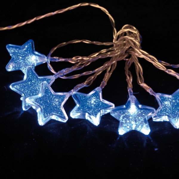 Noma 1.05m Length Of 8 Blue Indoor Static Battery Operated LED Star Light Set Transparent Cable