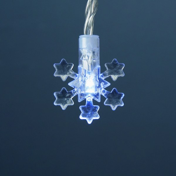 1.9m Length of 20 White Battery Operated LED Star Shape Snowflake Lights Transparent Cable