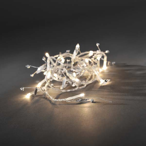 Konstsmide 1.5m Length Of 20 Warm White Battery Operated Indoor Static Fairy Lights with Silver decorations Transparent Cable