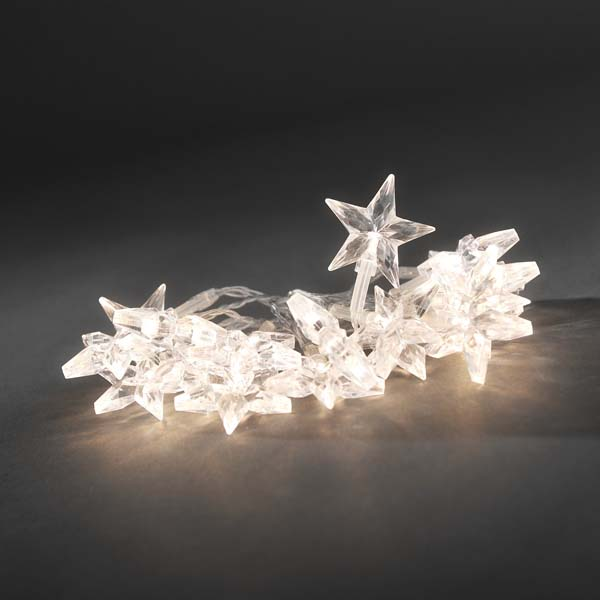 Konstsmide 1.9m Length Of 20 Warm White Battery Operated Indoor Static Star Fairy Lights Transparent Cable