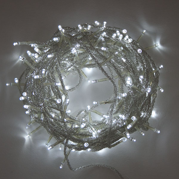 Battery Operated 14.3m Length Of 192 White Indoor & Outdoor Multi Effect  LED Fairy Lights With Timer On Clear Cable