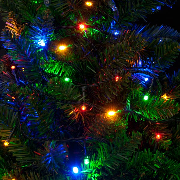 Premier 19.9m Length Of 200 Outdoor Battery Operated Multiaction Multicoloured LED Fairy Lights With Timer Green Cable