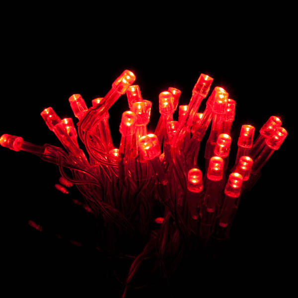 3.4m Length Of 35 Indoor Battery Operated Multiaction Red LED Fairy Lights Transparent Cable