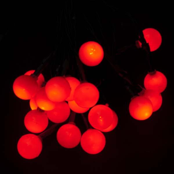 noma 285m length of 20 battery operated indoor red static berry lights green cable