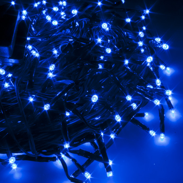 27m Length Of 360 Indoor & Outdoor Multifunction Blue LED Fairy Lights On A Green Cable