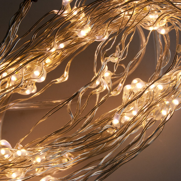 Premier 1.1m Length Of 160 Indoor Static LED Flower Lights On Fine Silver Wire