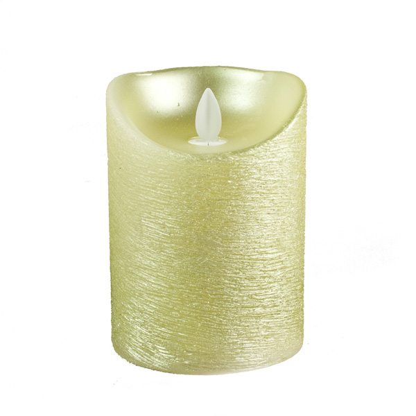 Battery Operated LED Dancing Flame Gold Metallic Wax Candle - 12cm