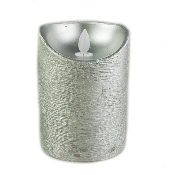 Battery Operated LED Dancing Flame Silver Metallic Wax Candle - 12cm