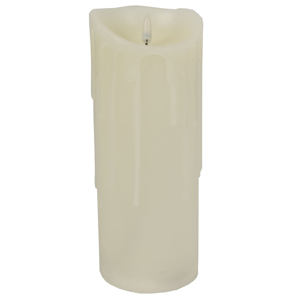 Battery Operated LED Dancing Flame Cream Candle - 23cm x 9cm