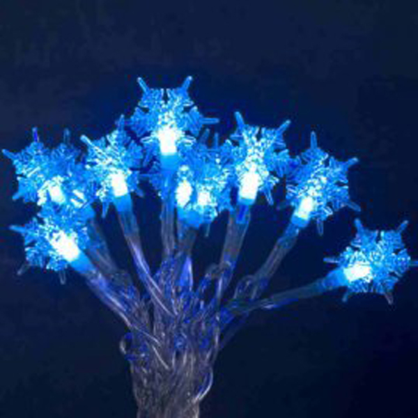 Konstsmide 1.7m Length Of 20 Blue Indoor Static Battery Operated LED Snowflake Fairy Lights Black Cable