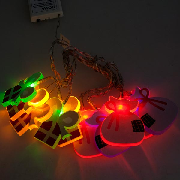 Noma 1.35m Length Of 10 Multicoloured LED Christmas Present Indoor Static Figure Fairy lights Clear Cable.
