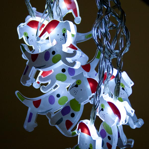 Noma 1.35m Length Of 10 White LED Christmas Puppy Indoor Static Figure Fairy lights Clear Cable.